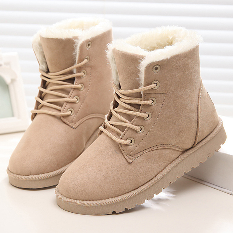 Women Winter Boots Warm Plush Ankle Snow Boots 2018 Casual Women Flat Shoes Plus Size 42 Lace-Up Fur Suede Female Shoes zorssar 2017 new classic winter plush women boots suede ankle snow boots female warm fur women shoes wedges platform boots