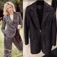 2018 Fashion autumn blazer feminino heavy work sequins women's suit vadim temperament office wear women tops silm ladies blazer