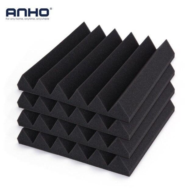 ANHO 12PCS 300x300x50mm Acoustic Soundproofing Foam Sound Stop Absorption Foam for KTV Audio Room Studio Room Bedroom Black