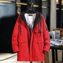 B חדש אביב מעילי Mens הסוואה ארוך מעיל רוח מעילי הלבשה עליונה מזדמן רופף ברדס מעיל בתוספת גודל 10XL