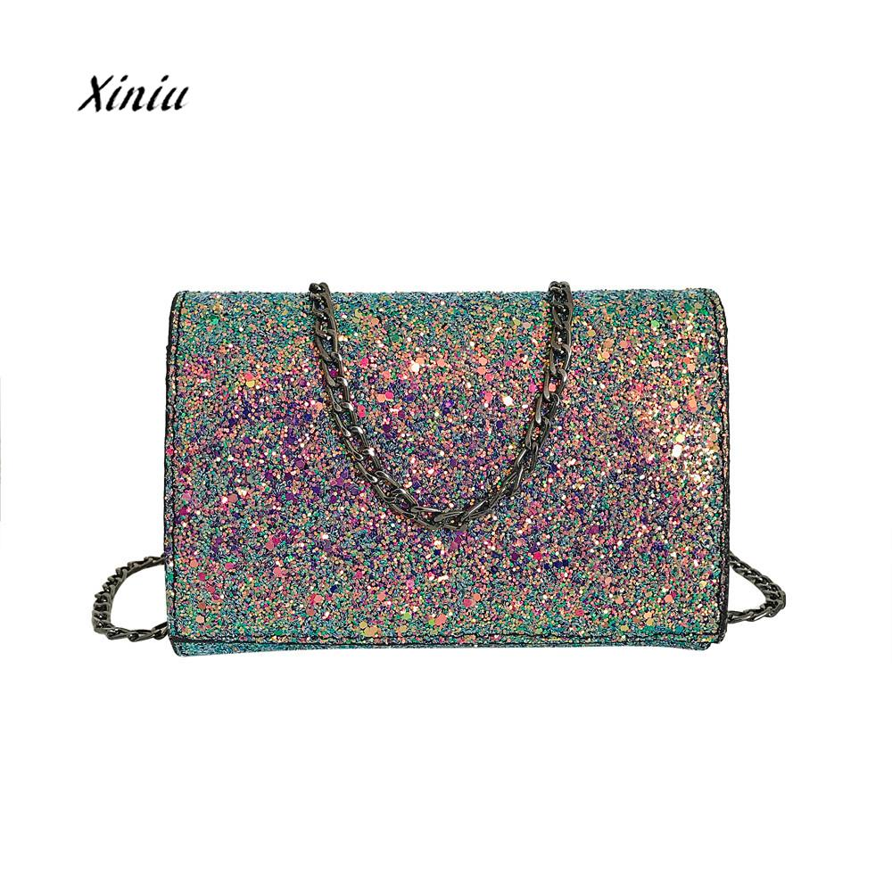 NEW Fashion Crossbody Bag Women Girl Leather Crossbody Shoulder Bag With Bling Sequins Ladies Elegant Messenger Wallet Bags