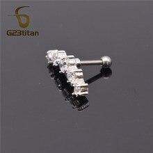 G23titan Fashion Earrings Cartilage Piercing 5 Crystals Labret Studs Ear Stud Piercing