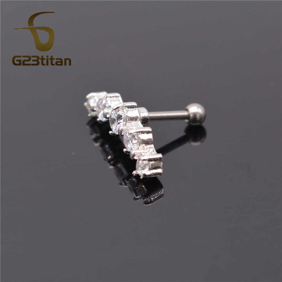 G23titan Fashion Earrings Cartilage Piercing 5 Crystals Labret Studs Ear Stud Piercing Tragus For Women Body Jewelry
