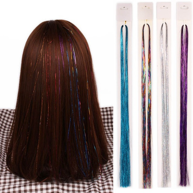 Gold Silver Colorful Sparkel Shiny Effect Synthetic Hair Extension
