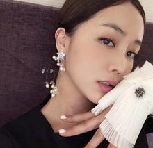 charm New  fashion tassel crystal bead earrings exaggerated long celestial pearl jewelry african