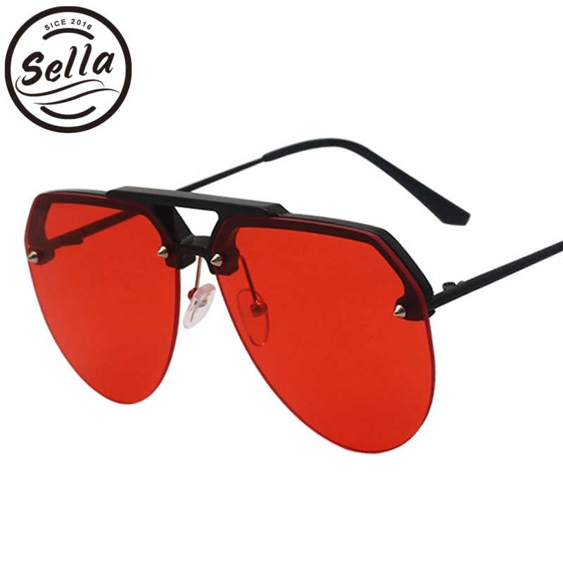 7c7c71ad2ae Sella Fashion Oversized Pilot Sunglasses Candy Color Tint Lens Shade For Women  Alloy Half Frame Clear