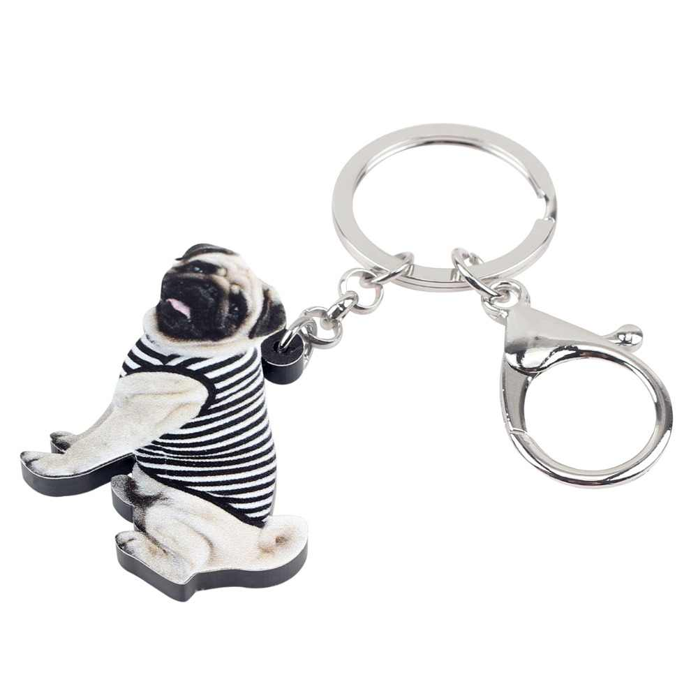WEVENI chaleco acrílico Bulldog francés Pug perro llavero anillo lindo Animal joyería para mujeres niñas adolescentes bolso Coche bolso encantos