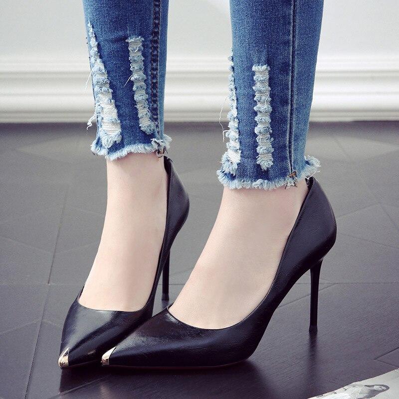 c253511e Otoño Negro Moda Primavera Nueva De Mujer Señaló Solo white 2019 Negro Y  Zapatos Cien Tacones UpqzGVSM