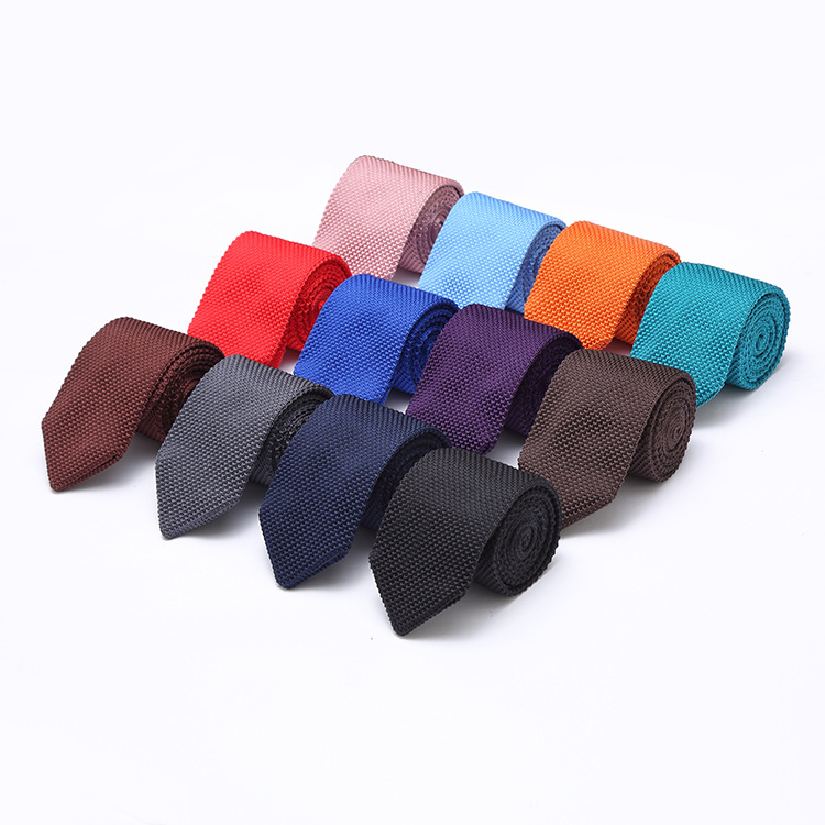 28 Color New Style Fashion Men's Solid Colourful Tie Knit Knitted Ties Necktie Normal Slim Classic Woven Cravate Narrow Neckties