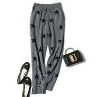 100% кашемир вязать женщина весна осень длинные штаны шнурок брюки с высокой талией M/L серый, черный цвет 2 цвета