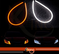 2x 60cm DRL Flexible LED Tube Tear Strip Style Car Headlight Light Amber White For Lexus