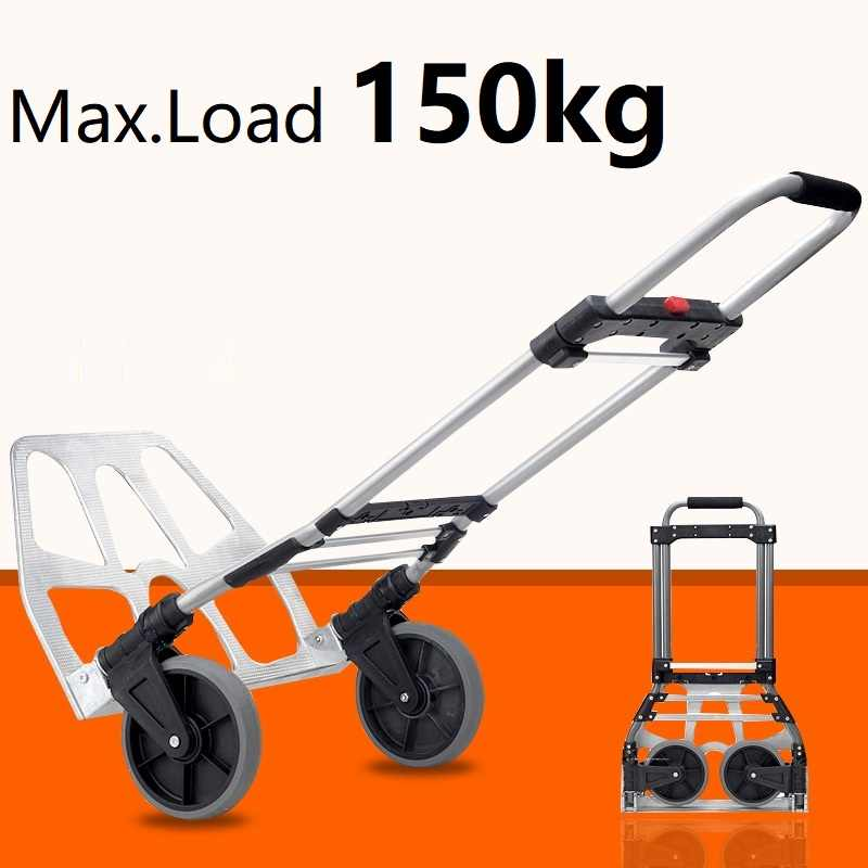 394f4edac0b7 150kg Capacity Multi Functional Aluminum Alloy Folding Hand Truck and Dolly  Trolley for Indoor Outdoor Travel Shopping Office
