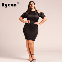 Ryeon Party Autumn Winter Spring Fashion Women Sexy Dress Plus Size Bodycon Off Shoulder Ruffles Tunic