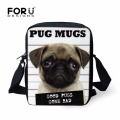 FORUDESIGNS 3D Animal Printing Small Handbags For Ladies Vintage Cute Pug Dog Women Messenger Bags Kids Crossbody Bag Mochila