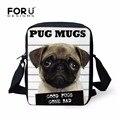 Forudesigns 3d animales de impresión pequeños bolsos de las señoras de la vendimia lindo perro pug mujeres messenger bags kids bolso bandolera mochila