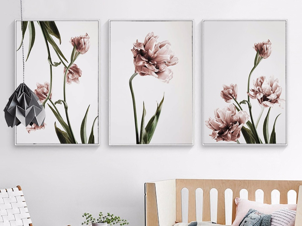 Домашний декор тюльпан холст цветочные плакаты и принты скандинавские современные настенные модульные картины для гостиной холст печать картина маслом|Рисование и каллиграфия| | - AliExpress