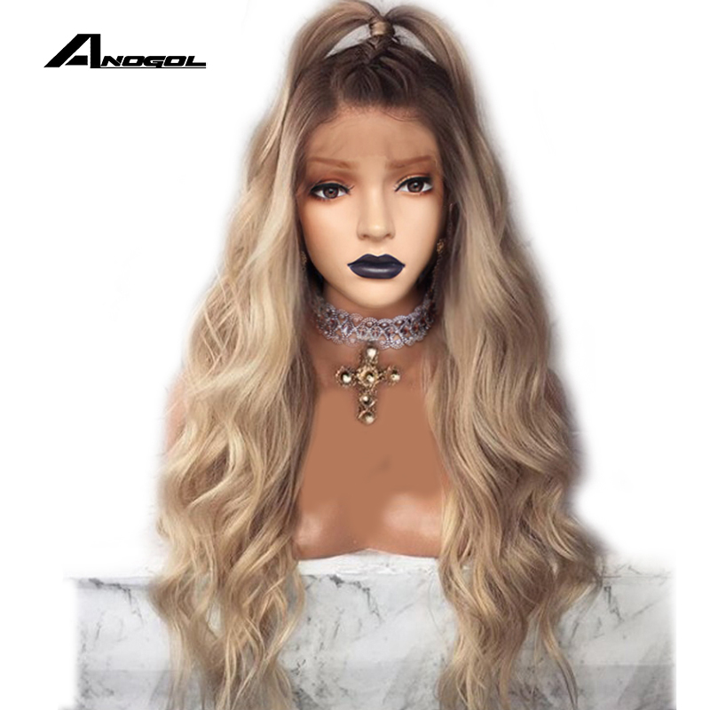 ANOGOL Brown Roots Ombre Blonde Long Body Wave Free Part Synthetic Lace Front Wig For Women Natural Hairline Full Hair Wigs