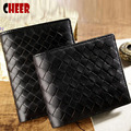 Men's wallet luxury purse men's fashion retro classic woven size purse black wallet case grain elements