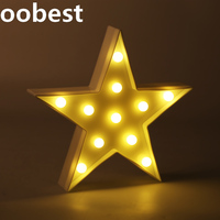 Oobest 2 Colors 3D Lamp Reusable Funny Holiday Party Beautiful Decoration Fairy Five Pointed Star Night