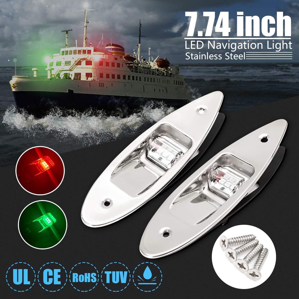 1 PAIR Red /& Green Boat Vertical Mount 12V LED Navigation Lights Side Marker