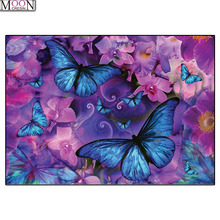 MOONCRESIN DIY Diamond Embroidery Blue Butterfly Flower Painting Cross Stitch Full Square Drill Rhinestone Mosaic Decoration Kit mooncresin diy diamond embroidery beauty flower lady painting cross stitch full square drill rhinestone mosaic decoration ar t