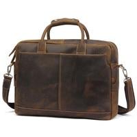Роскошные Crazy Horse кожа Для мужчин сумочка из натуральной кожи сумка 15 дюймовый ноутбук сумка Винтаж Повседневное Бизнес портфели