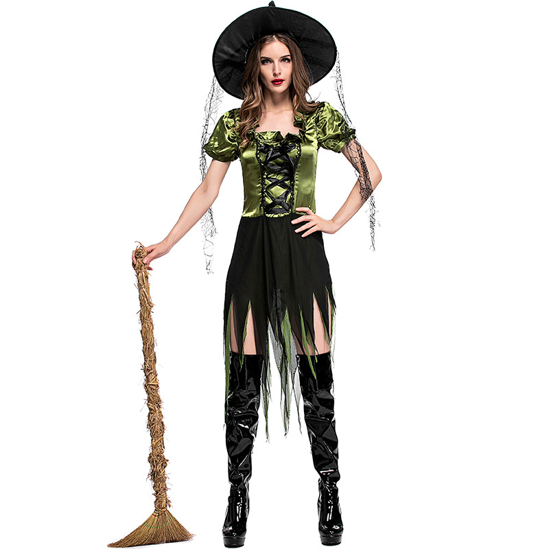 Women Sexy Witch Cosply Costumes Green Irregular Peplum Dress Hat Silk Ribbon 3pcs Set Halloween Cosplay Costumes Sorceress Cos