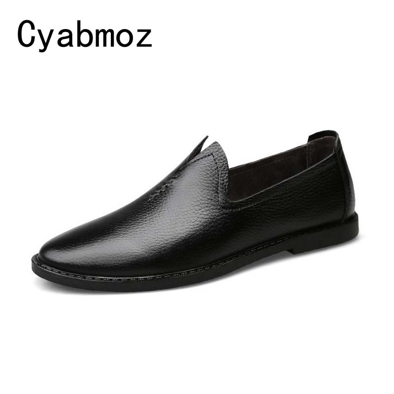 Cyabmoz Genuine Leather Men Loafers Slip On Black Brown White Mens Shoes Driving Moccasins Casual Male Flats Peas Shoes black real leather 2017 mules summer brown european loafers men genuine shoes moccasins half male casual slip ons hot sale