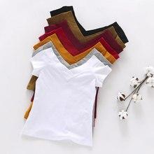 Летняя женская футболка высокого качества с v-образным вырезом, 5 ярких цветов, хлопковая Базовая простая футболка для женщин, женские топы с коротким рукавом