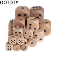 6 Sided Wood Dice Mahjong Party Number Or Point Round Coener Kid Toys Game 5pcs/set