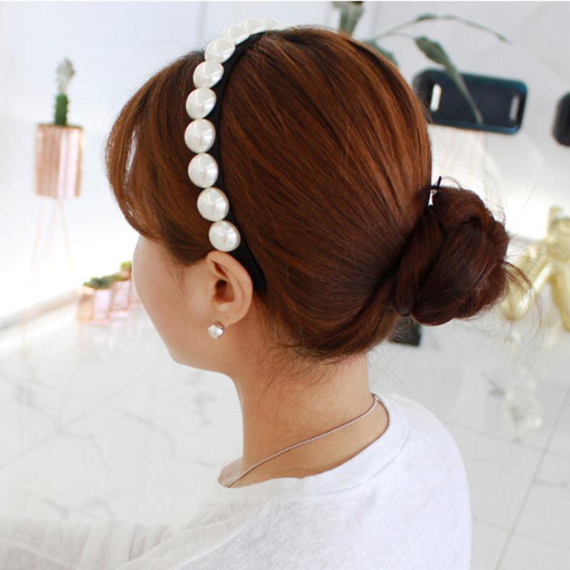 Hair Accessories Imitation Pearl Hairbands for Women Girls Elastic Bride Headbands Seaside Party Graceful Beautiful Headwear in Women 39 s Hair Accessories from Apparel Accessories