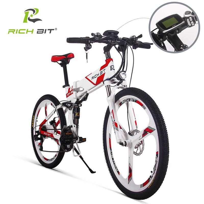 RichBit New 36V*250W Electric Bike Mountain Hybrid Electric Bicycle Watertight Frame Inside Li-on 12.8Ah Battery Folding ebike