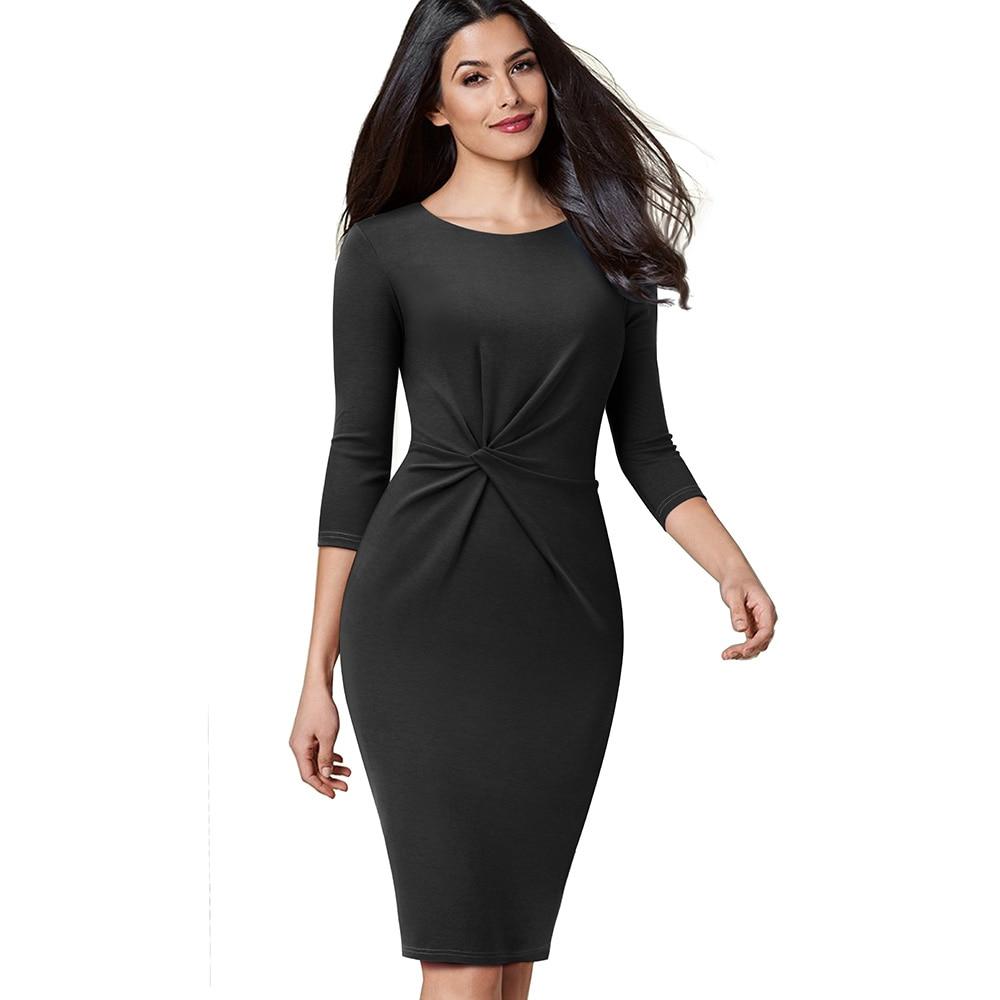 Image 3 - Женское винтажное платье Nice forever, однотонное облегающее платье с узлом для деловых встреч и вечеринок, B476Платья   -