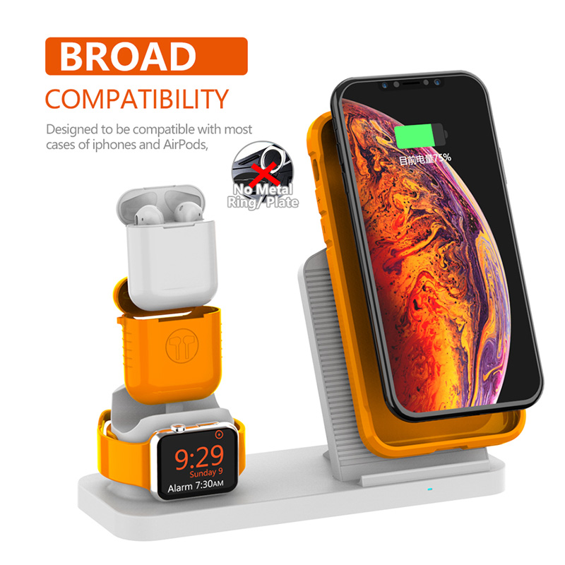 Image 2 - Fast 3 in 1 Wireless Charger for iPhone 3in1 Wireless Charging Dock Station Qi 10W for iPhone X XS Max XR 8 AirPods Apple Watch-in Mobile Phone Chargers from Cellphones & Telecommunications