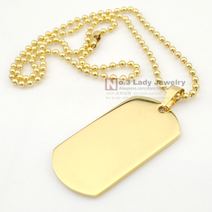 Fashion Gold Plated Stainless Steel Military Dog tag Pendant Necklace, 5cm*2.7cm, Mens Jewellery, Wholesale Free shipping
