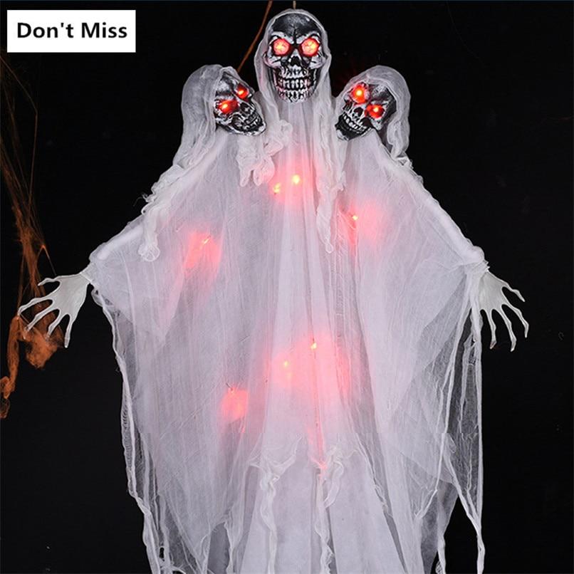 Halloween peur décoraion grande taille trois tête crâne démon suspendus fantôme Costume partie brillant accessoires horreur voix suspendus crâne