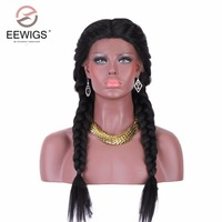 Long Black Synthetic Braided Lace Front Wig 2x Twist Braids Wig 150% Density Yaki Hair Middle Part Heat Resistant Wigs for Women