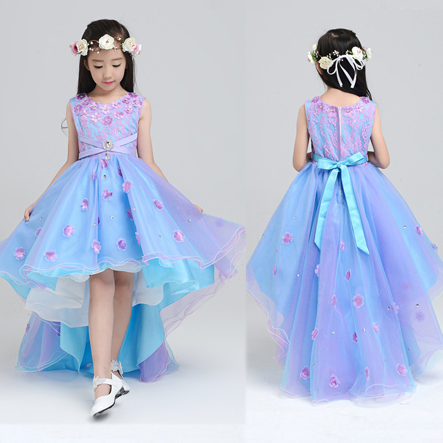 3dc594eb71d 2018 New Sweet Flower Girl Dresses for Wedding Short Front Long Back Satin with  Tulle Appliques