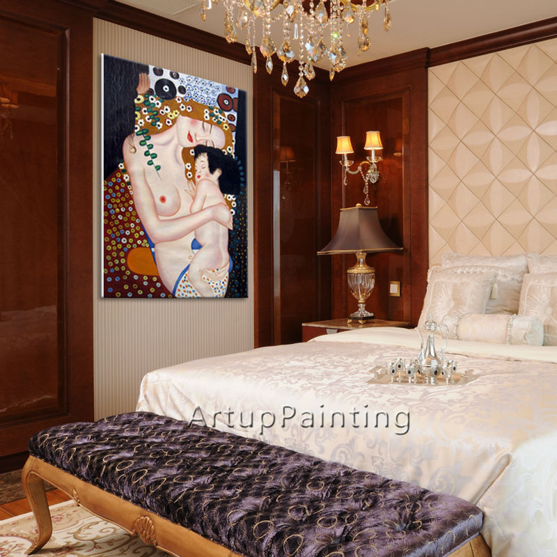 Gustav Klimt Oljemaleri The Kiss Canvas maleri billeder til stue - Indretning af hjemmet - Foto 3