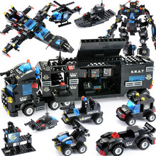 New Military Car Building Blocks City SWAT Police Truck Blocks Helicopter Vehicle Creator Bricks Toys Gifts For Children 8in1 swat city police truck building blocks sets ship helicopter vehicle creator bricks playmobil compatible with toys
