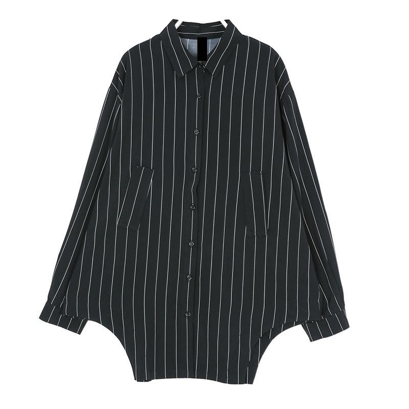 [XITAO] Cardigans Women Europe Fashion Turn-down Collar Full Sleeve Loose Striped Shirt Female Irregular Button Blouse WBB1466 5