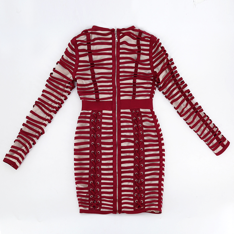 Di alta Qualità Lace Up Borgogna Manica Lunga Skinny Vestito Da Partito Elegante per Le Donne Rotonde del Collo Della Maglia Robe Femme Abiti - 4