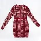 Hoge Kwaliteit Lace Up Bourgondië Lange Mouwen Skinny Elegante Partij Jurk voor Vrouwen Ronde Hals Mesh Gewaad Femme Vestidos - 4