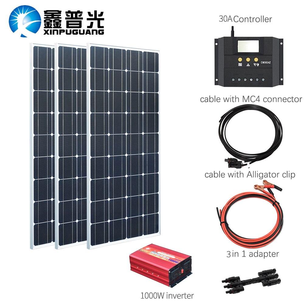 XINPUGUANG 100 w Panneau solaire monocristallin 300 w kits solaires charge avec 1000 w onduleur pour 12 v ou 24 v batterie Panneau solaire