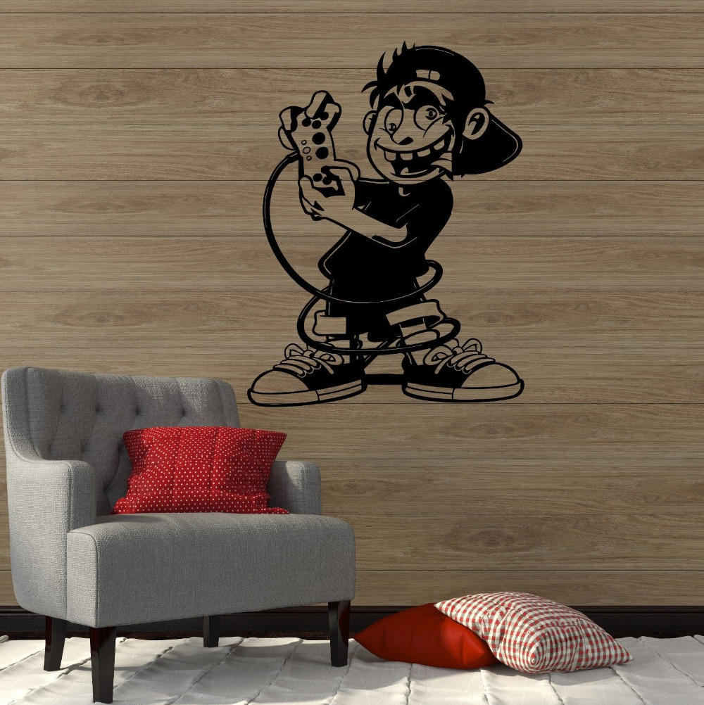 Gamer Wall Vinyl Sticker Decal Boy Room Video Games Kids Art Play Room Decoration Perfect Quality Removable Wall Decals ZB539