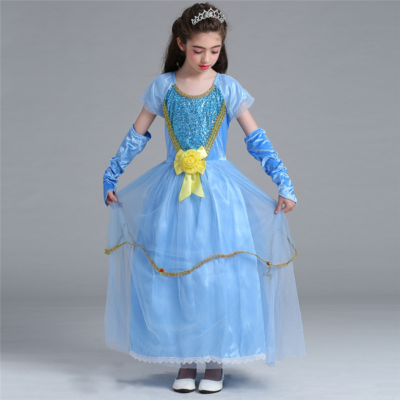 New Elsa Dress Halloween Dance Party Cosplay Costume Princess Dress Girl Elsa Long Clothes Vestidos With Sleevelet Kids 10 Years devil may cry 4 dante cosplay wig halloween party cosplay wigs free shipping