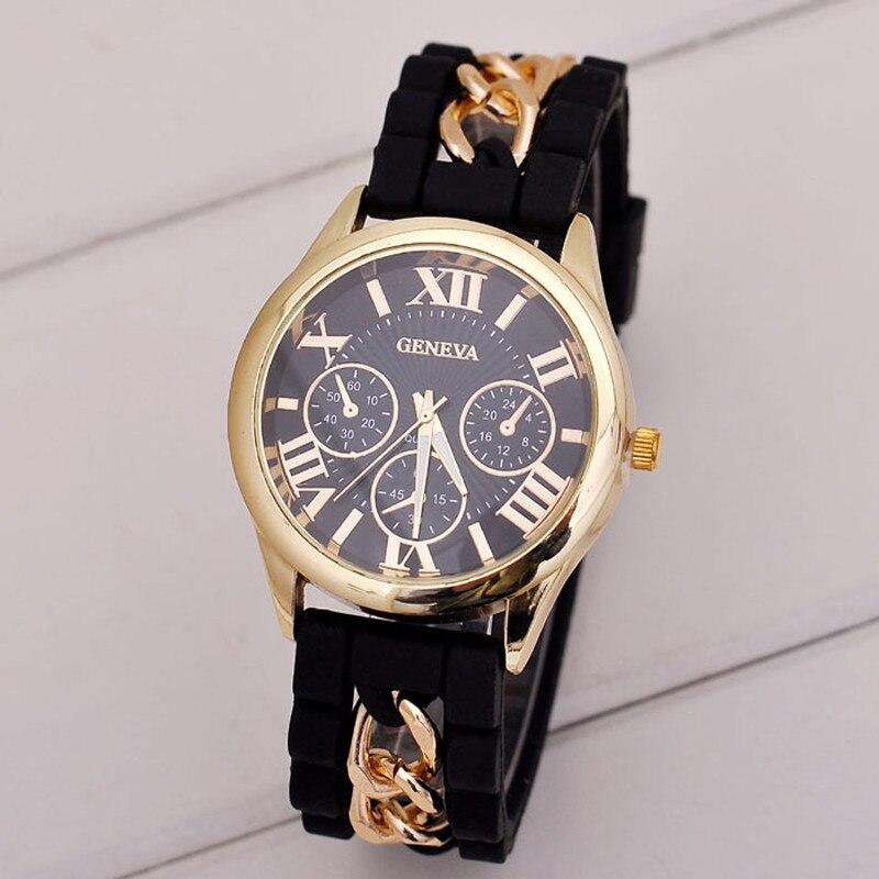 Geneva Watches Fashion Women Girl Bracelet Watch Silicone Roman Numerals Quartz Wrist Watch montres erkek kol saati reloj mujer diamond stylish watches for girls
