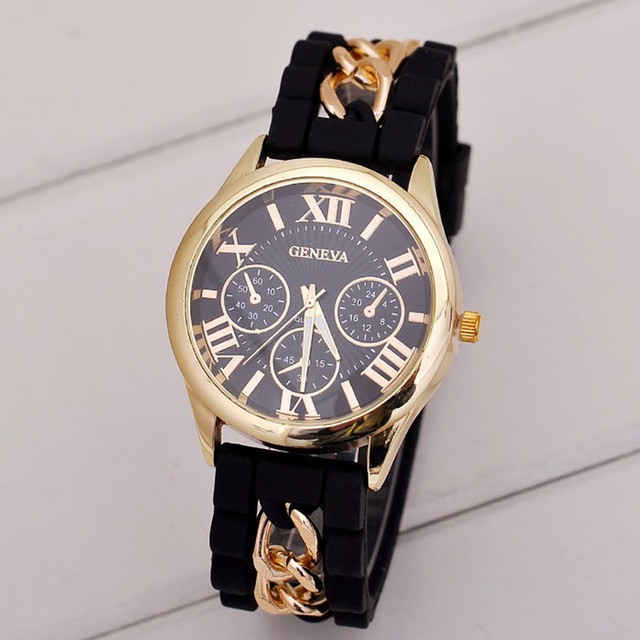 Geneva Watches Fashion Women Girl Bracelet Watch Silicone Roman Numerals Quartz