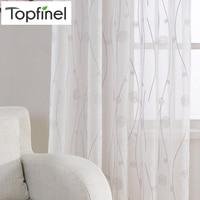 Topfinel cortinas bordadas naturales para la sala de estar Dormitorios elegantes cortinas de hilo bordado velo blanco cortinas Panel Tul de alta calidad para ventana