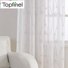 New Embroidered White Sheer Curtains for Living Room Bedroom Abstract Pattern Window Tulle Kitchen Small Window Curtains Drapes
